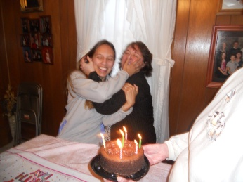 MY NIECE, EMILY WITH HER MOTHER, ANGELA WHO IS ON THE RIGHT AT THEIR BIRTHDAY PARTY.