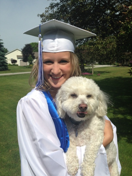 My Niece, Kaitlin In Her Graduation Cap And Gown Holding Her Pet Dog, Maxi