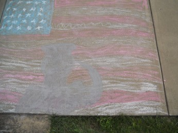 THANK YOU TO OUR VETERANS. CHALK DRAWING DONE BY MY NEPHEW.